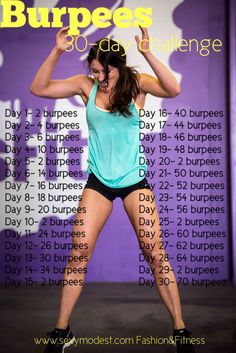 30 day burpee challenge. According to lead exercise scientists, the burpee is the most effective exercise, as it targets all five dimensions of fitness: endurance, speed, agility, strength and flexibility