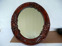 Vintage Hand Carved Wood Framed Oval Wall Mirror 25 x 22