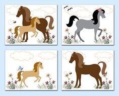 Horse Wall Art Prints Pony Barnyard Farm Animals Girl Room Decor - Click Image to Close