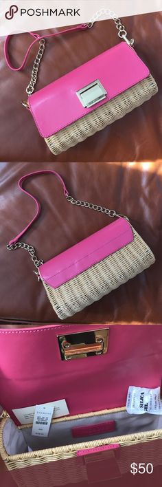 NWT Talbots pink leather and wicker purse NWT Talbots pink leather and wicker purse Talbots Bags Shoulder Bags