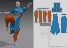 This is a fan art for Chun-li of Street fighter Model at Zbrush, Max, Cloth At wonderfull Marvelous Designer Textures in Zbrush, Substance Painter and Photoshop Render at Marmoset toolbag Character Modeling, Character Costumes, Zbrush, 3d Design, Pattern Design, Chun Li Costume, Sketches Tutorial, 3d Fashion, Costume Patterns