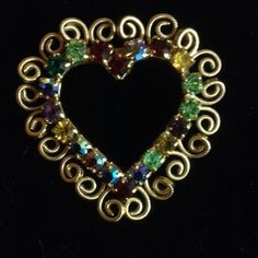 Free Ship  Gorgeous! Heart Brooch Pin Multiple Stone Gold Tone