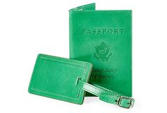Leather Passport/Luggage Tag, Green on OneKingsLane.com