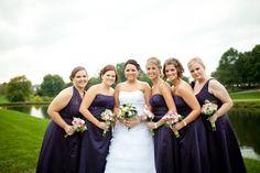 Dark purple bridesmaid dresses from rusticweddingchic.com