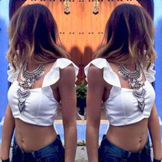 Summer Womens Sexy Backless Strappy Bra Crop/ Chiffon Blouse Halter Vest Tank Tops