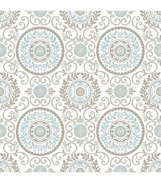 Sweet blue and brown medallions intertwine in an intricate lattice pattern. Vine accents add a natural element to the design, reminiscent of a Parisian garden. Use this peel and stick wallpaper for an
