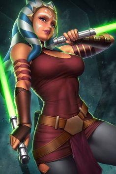 Ahsoka Tano (star wars - the clone wars) Star Wars Fan Art, Star Wars Concept Art, Star Wars Characters Pictures, Images Star Wars, Star Wars Pictures, Star Wars Clones, Star Wars Jedi, Star Trek, Meme Comics