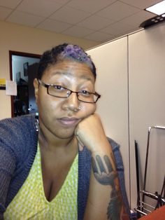 Back to black with a hint of lavender in the front. Y'all know I can't do a normal color! Lol