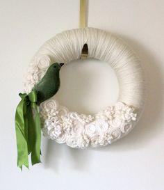 Green Bird Wreath, Ivory Yarn and Felt Wreath - 12 inch size
