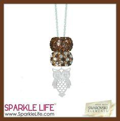 Brown speckled owl necklace