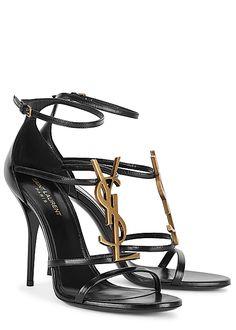 Anthony Vaccarello, Harvey Nichols, Black Leather Sandals, Antique Gold, Designer Shoes, Open Toe, Ankle Strap, Shopping Bag, Yves Saint Laurent