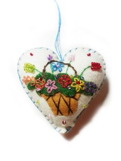 Floral Flower Basket Heart Shaped Hand Stitched Wool Felt Ornament by FeltPassion on Etsy https://www.etsy.com/listing/189775958/floral-flower-basket-heart-shaped-hand