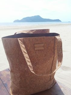 Tote Bag - Made from Cork Fabric. Features Rear Pocket and Bamboo Logo