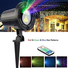 Outdoor Laser Christmas Light Projector IR Wireless Remote Red Green Blue Star Laser Show for Christmas Parties Landscape Garden #Affiliate