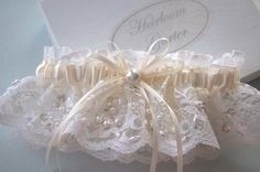 Your Choice of White or Ivory Chantilly Beaded Lace by GarterLady, $40.00