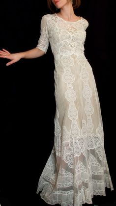 Romantic Antique Vintage Full Lace Embroidered Sheer 1920s - 1930s Wedding Dress White/Off White Small. $450.00, via Etsy.