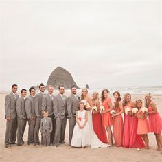 Coral and Gray Wedding Party