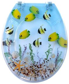 "Euro Showers ""Tropical Fish"" toilet seat cover. Your bathroom might not be big enough for a real aquarium - but at least you can pretend!"