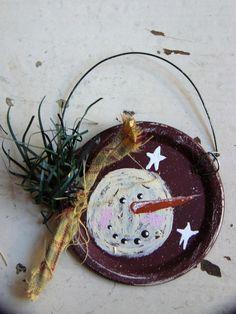 PRIMITIVE SNOWMAN ORNAMENT w/Stars on Metal Mason Jar by Booth555