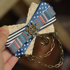 To ❀ desire ღ list · · · · original handmade! Retro the Navy sea anchor rudder lace tassels badge brooch pin England College Wind