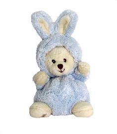 """Ziggy is a cute little teddy bear with a """"bunny"""" hood that can be folded back."""