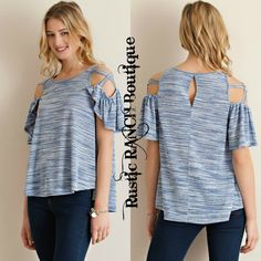 30fea6b7fe Space dye cut and sew cold shoulder top featuring flutter sleeves double  straps on shoulder. Non-sheer. Color: Royal *Fits slightly large. Rustic  Ranch ...
