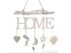 Enseigne décoration guirlande Home en bois à accrocher avec décorations pendentifs.