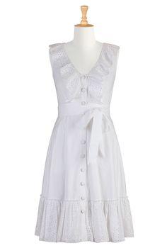 #eShakti, Dresses, Ruffles, Eyelet, Cotton Dresses, White Dresses