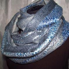 Купить Валяный шарф снуд серо-голубой - голубой, серый, шарф валяный, шарфик валяный