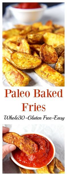 Paleo Baked Fries- 3 ingredients and so easy! Whole30, gluten free, dairy free and the best fries you'll ever eat! Guaranteed!!