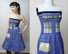 DOCTOR WHO Tardis police box dress  custom  by smarmyclothes, $155.00