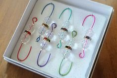 Beaded Ornament Hangers- Crystal - Colorful Rondelle - Wire Assortment - Gifts on the Go - FREE SHIPPING