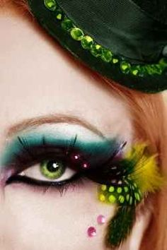 Incredible eye makeup revs up a classic circus look with modern vintage style.