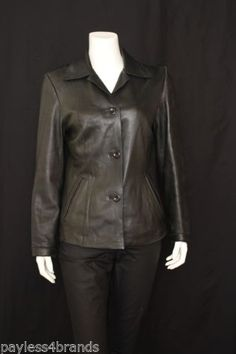 Used Pronto Classic Black Genuine Leather Jacket Size S