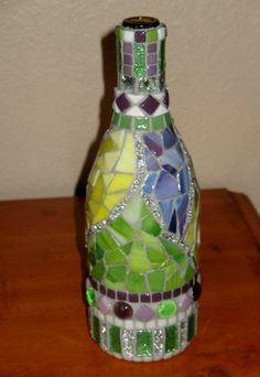 MOSAIC Wine BOTTLE...Decorative Bottle Art, Sparkly Mirror Tile Accent, Purple, Green, Yellow, Brightly Colored Hand Cut Mosaic Glass, Ooak