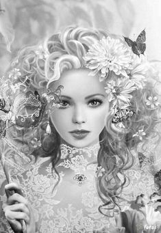 23 Best Grayscale Coloring Pages for Adults .Sharpen your concentration and colored pencils. Free Adult Coloring, Printable Adult Coloring Pages, Coloring Book Pages, Art Visage, Colorful Pictures, Illustration, Fantasy Art, Art Drawings, Pencil Drawings