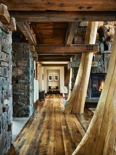 Hallway In The  Log Cabin Great Design