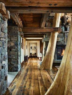 Hallway In The  Log Cabin Great Design