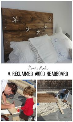 DIY Project: A 'Reclaimed' Wood Heaboard - Finding Silver Pennies Driftwood Headboard, Reclaimed Wood Headboard, Reclaimed Wood Furniture, Diy Furniture, Wood Wood, Upcycled Crafts, Old Navy, Diy Headboards, Headboard Ideas