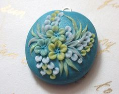 Green floral pendant necklacePolymer Clay flower necklace