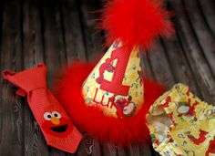 Boys Birthday Party Hat, Diaper Cover and Tie - Perfect for First Birthday, Smash Cake Pics, Photo Prop - Elmo Red Monster. $56.00 USD, via Etsy.