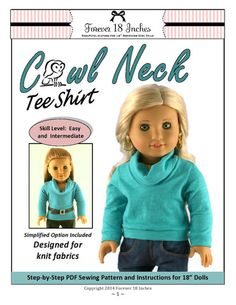 """Cowl Neck Tee Shirt 18"""" Doll Clothes"""