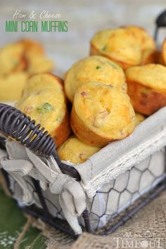 Ham and Cheese Mini Corn Muffins - perfect for breakfast, lunch and dinner or anytime in between! | MomOnTimeout.com | #brekfast #recipe #ham