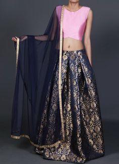 bbdfe39518997 Sassy Pink And Blue Brocade Indian Designer Lehenga