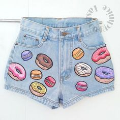 Donuts macaron cute painted jeans Hand painted by FashionRichnice Painted Shorts, Painted Jeans, Painted Clothes, Hand Painted, Diy Fashion, Teen Fashion, Fashion Outfits, Diy Clothing, Custom Clothes