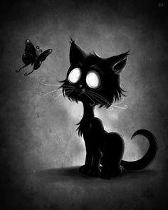 Black cat and butterfly. Art Tim Burton, Tim Burton Style, Arte Emo, Gothic Fantasy Art, Black Cat Art, Black Kitty, Goth Art, Creepy Cute, Cat Tattoo