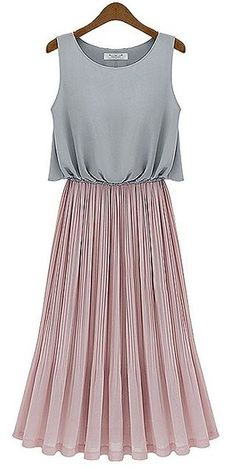 To find out about the Grey Sleeveless Contrast Pink Pleated Maxi Dress at SHEIN, part of our latest Dresses ready to shop online today! Pretty Outfits, Cute Outfits, Pleated Maxi, Looks Style, Couture, Look Cool, Dress Me Up, Dress Long, Look Fashion