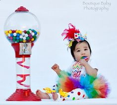 First Birthday Tutu Outfit -- Rainbow Sweetheart -- bow, leg warmers, tutu and personalized onesie with chevron via Etsy