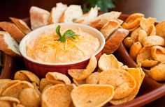 Crock Pot Buffalo Chicken Dip from Food.com:   								This recipe is great for parties!  I haven't had a person yet who doesn't enjoy it.