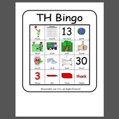 TH Bingo : bingo game to target voiceless th in initial and final word positions - 4 bingo cards Articulation Therapy, Articulation Activities, Speech Therapy Activities, Speech Therapy Games, Speech Language Pathology, Speech And Language, Th Words, Childhood Apraxia Of Speech, Word Bingo